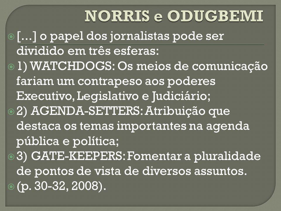 NORRIS e ODUGBEMI [...] o papel dos jornalistas pode ser dividido em três esferas:
